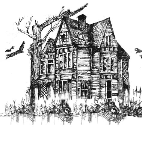 haunted house illustration series  art house