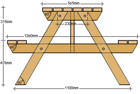 Picnic Bench Dimensions by Buildeazy Projects 4 Seater Picnic Table Metric Version