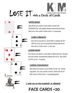 lose    deck  cards   moving fitness