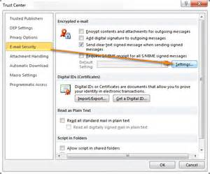 Outlook Email Security Settings
