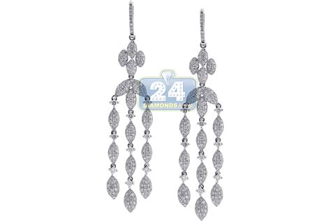 14k white gold 5 36 ct womens chandelier earrings