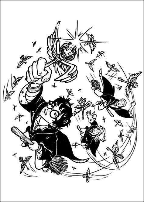disegni da colorare harry potter disegno di harry potter e i suoi amici sulle scope magiche