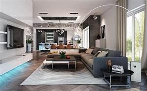 Moderne Eckcouch : wohnzimmer in grau mit eckcouch im mittelpunkt 55 ideen ~ Pilothousefishingboats.com Haus und Dekorationen