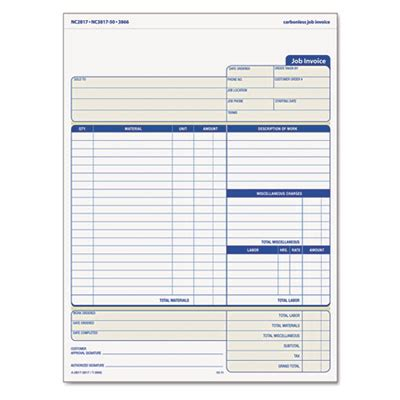 triplicate form template tops job invoice snap off 174 triplicate form at nationwide
