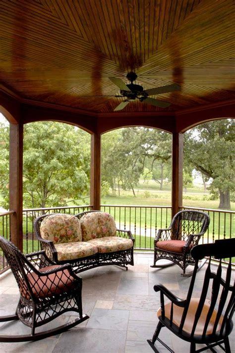 veranda  wood ceiling rocking chairs hgtv