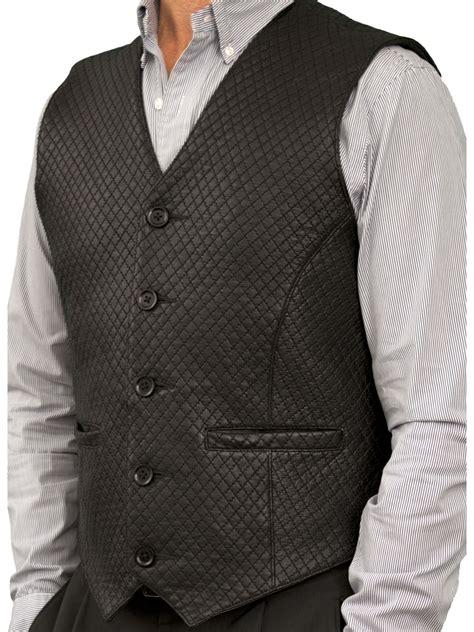 mens diamond stitch leather waistcoat  belt