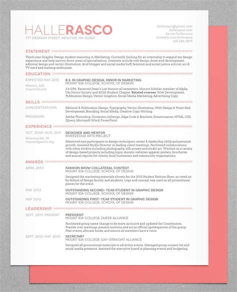 Best Font For A Creative Resume by Best 25 Resume Design Ideas On
