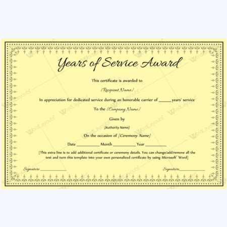 Certificate For Years Of Service Template by 89 Award Certificates For Business And School Events