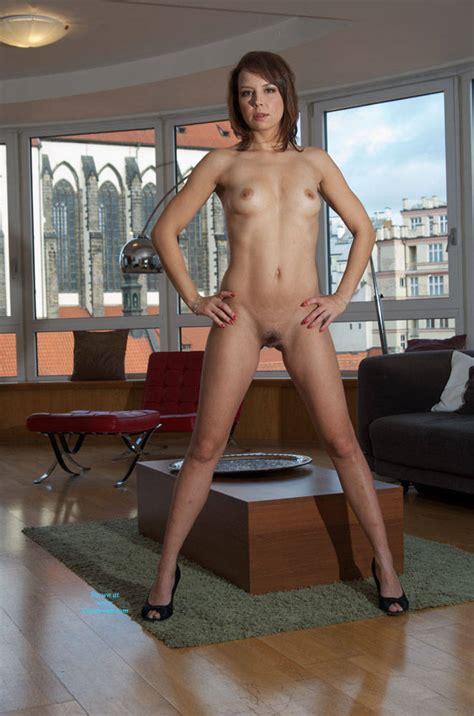 Yummy Naked Brunette Wearing Heels   April         Voyeur