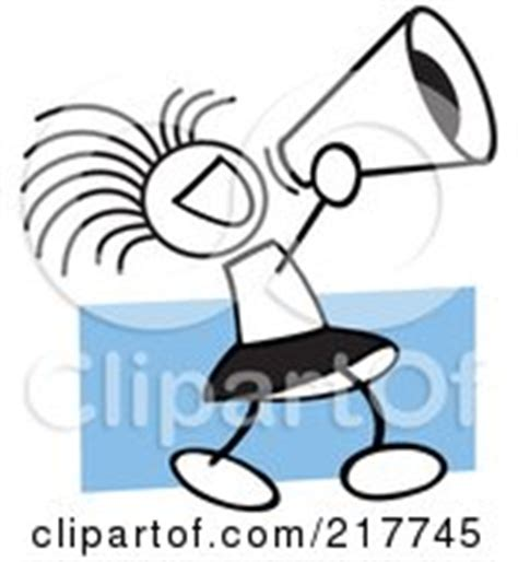 Blue Cheer Megaphone Clipart Royalty Free Rf Illustration Clipart Pom Pom And Megaphone In Blue Tones