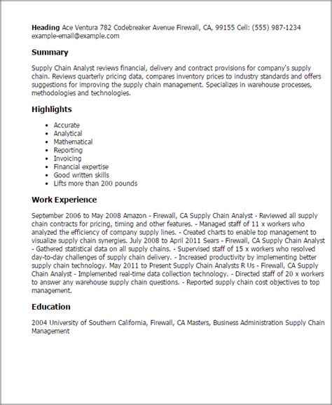 Supply Chain Resume Tips by Professional Supply Chain Analyst Templates To Showcase