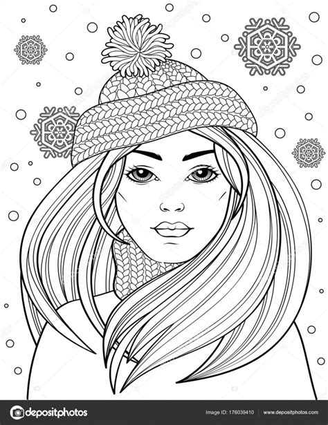 Young Beautiful Girl Long Hair Knitted Hat Tattoo Adult Antistress — Stock Vector © Alka5051