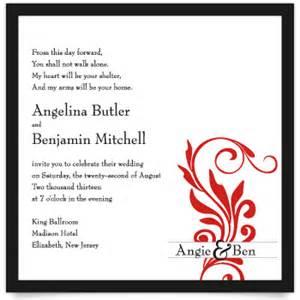 wedding reception wording exles words on wedding invitation wedding invitation ideas