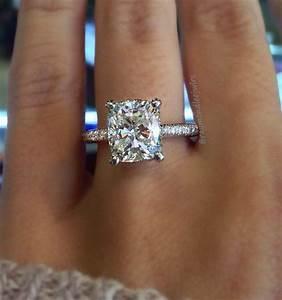 20 brilliant cushion cut wedding engagement rings for Cushion cut engagement rings with wedding band