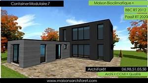 Maison toit plat et toiture terrasse bac acier ou siplast for Plan gratuit de maison 9 maison container modulaire ossature bois d architecte