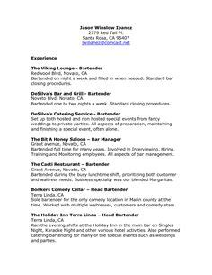 Bartender Resume Sle by Cover Letter Standard Closing Salutations For Letters In