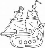 Clipart Pirate Ship Clip Outline Coloring Boat Pirates Transport Bateau Sweetclipart Transparent Barco Blanco Negro Sailing Cartoon Drawings Coloriage Lineart sketch template