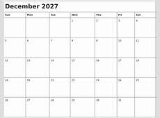 December 2027 Month Calendar