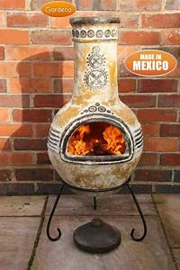 Gardeco Large Azteca Mexican Chiminea In Yellow
