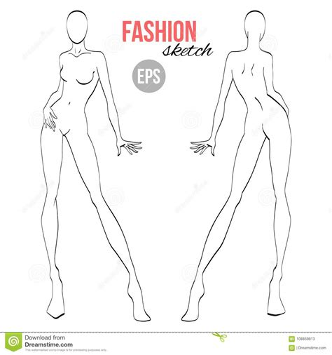 vector outline girl model template  fashion sketching