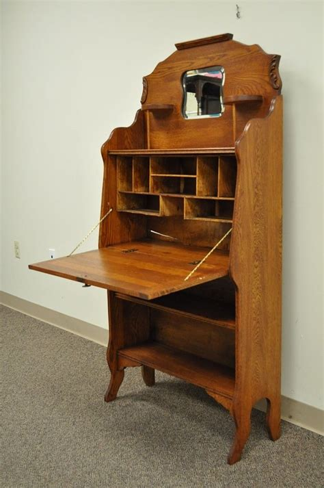 antique secretary desk with bookcase antique victorian carved oak drop fall front secretary