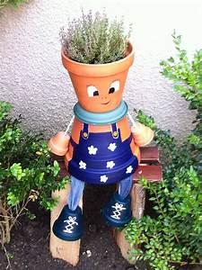 Creation Avec Des Pots De Fleurs : un jardinier en pot de terre pot en terre cuite personnage ~ Melissatoandfro.com Idées de Décoration