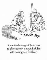 Coloring Thanksgiving Squanto Pilgrims Plantation Preschool Template sketch template