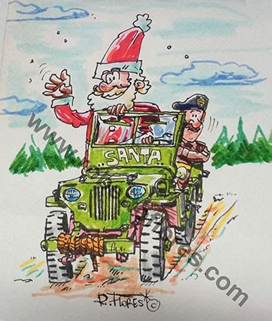christmas jeep card artists drawings ewillys