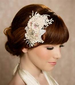 Champagne Bridal Headpiece Lace Hair Piece By GildedShadows