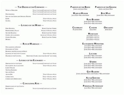 catholic wedding program out mass template 1458660 171 top wedding design and ideas