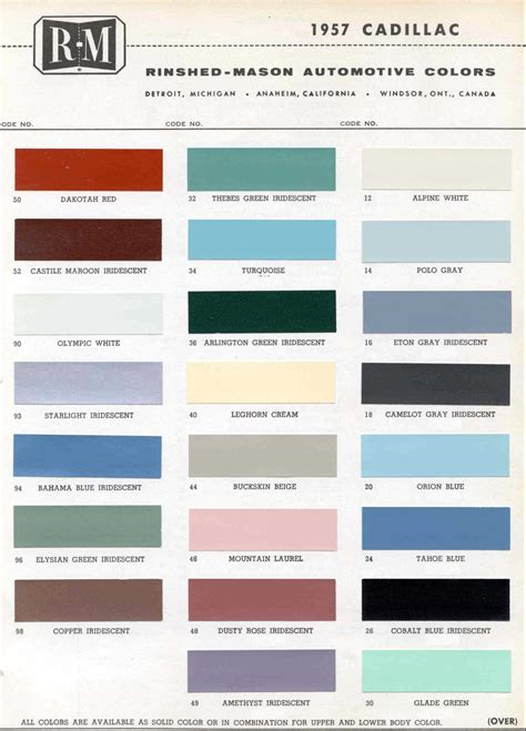 paint color codes cadillac official cadillac color names and paint codes page 4