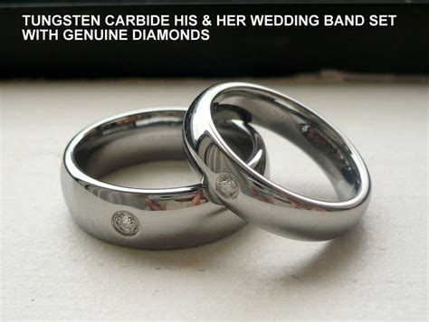 Tungsten Carbide His & Her Wedding Band Ring Set Real