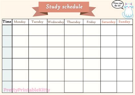 printable study schedule shared  denisse   heart