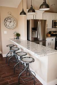 the dining room breakfast bar vacation home remodel With kitchen colors with white cabinets with world market metal wall art