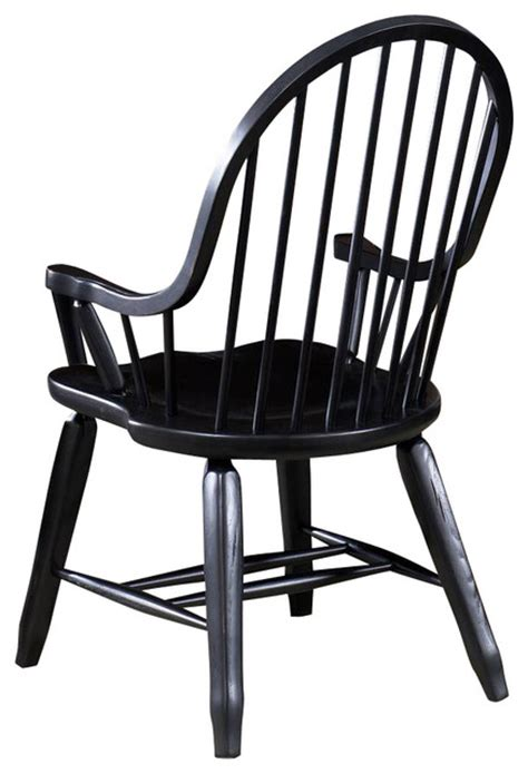 liberty furniture treasures bow back arm chair in black