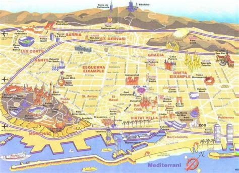 ideas  barcelona tourist map  pinterest