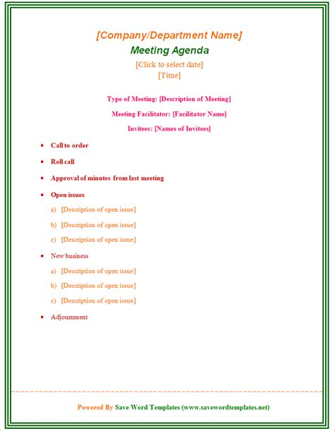 team meeting agenda template outline templates