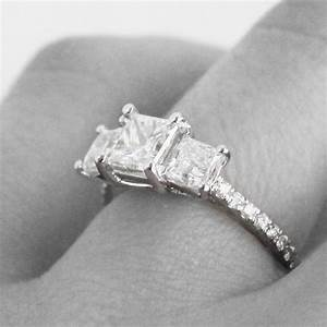 custom princess cut three stone engagement ring in With wedding band for 3 stone princess cut engagement ring