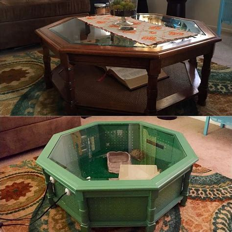 4x2x2 enclosure at a minimum, i prefer to keep mine in a 5x2x2 or 4x2x3. My coffee table?   Jude/Roo Tortoise Ideas   Tortoise house, Tortoise habitat, Reptile Enclosure
