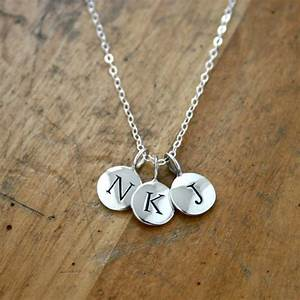 tiny round alphabet letter personalized initial charm With sterling silver letter charms necklace