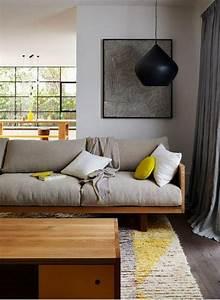 davausnet salon gris jaune bois avec des idees With tapis chambre bébé avec canapé alix