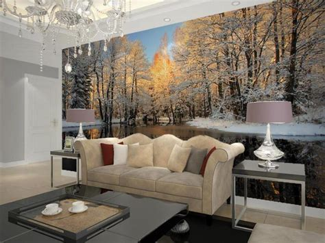 Winter Nature Landscape Home Decor Living Room Wall Mural Art Van Living Room Sets Budget Ideas Design Your Own Free Glass Corner Display Units For Men Home Decor Recliner Trunk Table