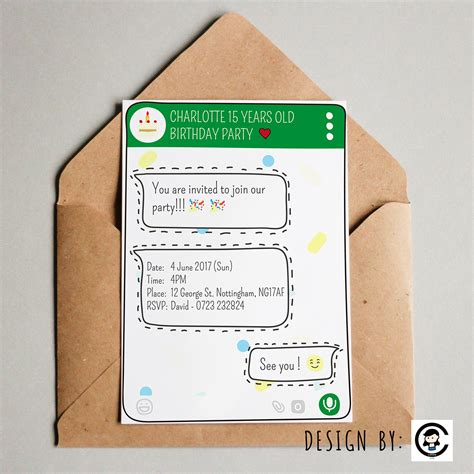 whatsapp theme birthday party invitation card design