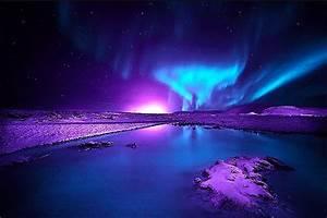 Auroras. Purple and blue northern lights. Auroras ...
