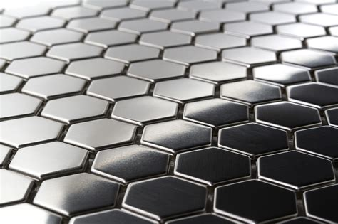 stainless steel mosaic 15 95sf hexagon 1 quot stainless steel tiles earthworks metal mosaic