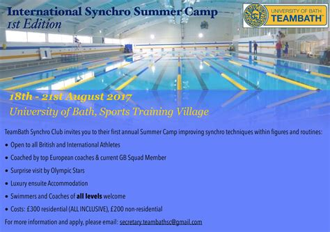 Synchro Summer Camps Announced In Bath And York