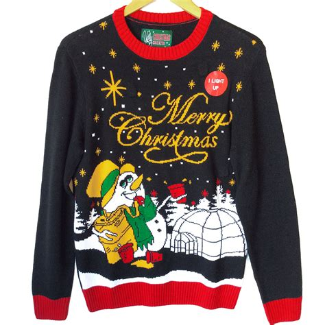 ugly light up christmas sweaters drunken snowman light up tacky ugly christmas sweater