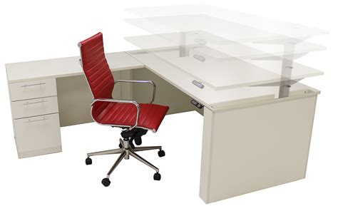 Office Desk Height by Adjustable Height U Shaped Executive Office Desk In White