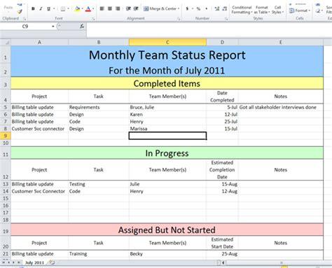 project management portfolio status report template