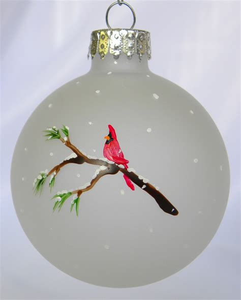 cardinal christmas ornament frosted glass hand painted
